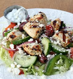 Mediterranean Chicken Kebab Salad with Tzatziki