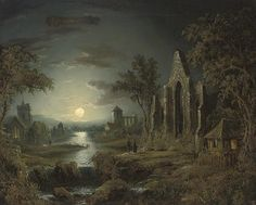 Sebastian Pether (British, 1790–1844) Title: A moonlit wooded river landscape with figures and a ruined church in the foreground, a village beyond