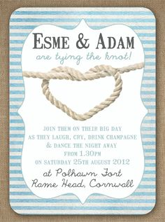 Knots and Anchors Nautical Seaside Sailing Beach theme wedding invitation by In the Treehouse