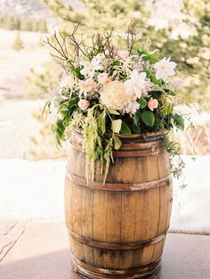 floral wedding ceremony decor/ http://www.deerpearlflowers.com/ideas-for-rustic-outdoor-wedding/2/