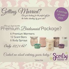 Getting married? Need bridal party gifts? Check out my website... https://beautyandwarmth.scentsy.us/