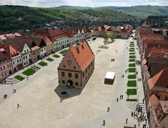 Bardejov is a town in North-Eastern Slovakia. It is situated in the Šariš region on a floodplain terrace of the Topľa River, in the hills of the Beskyd Mountains. It exhibits numerous cultural monuments in its completely intact medieval town center.