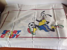 Vintage Sport Goofy Pillowcase. Original Walt Disney Productions Bedding. Single / Twin Bed. Craft Fabric. Children's Retro Bedding by FadoVintage on Etsy
