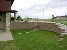 curved and stepped retaining wall...