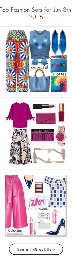 """""""Top Fashion Sets for Jun 8th, 2016"""" by polyvore ❤ liked on Polyvore featuring KOON, Dolce&Gabbana, MAC Cosmetics, Kenzo, NeXtime, TrickyTrend, culottes, MSGM, Etro and Carvela"""