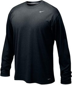Dri-FIT technology helps you stay dry and comfortable. Long-sleeved silhouette adds coverage and warmth. Lightweight softness creates a comfortable experience while training. Polo T Shirts, Black Nikes, Black Men, Nike Men, Long Sleeve Tees, Sleeves, Mens Tops, Clothes, Amazon Products