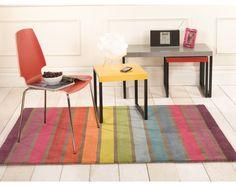 100% Wool Vibrant Rainbow Stripes Modern Rug- Dynamic - Childrens Rugs