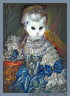 Olga, favorite cat of Catherine the Great. Created a scandal by eloping with the Grand Duke Vladimir's Wolfhound. Catherine was of the opinion that one took love where one found it and since she found a whole lot of it, Olga got off scot free.