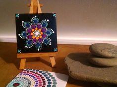 Colorful Dot Art Flower Mandala ~ Original Hand Painted Canvas ~ Unique Home Decor ~ Gift Ideas ~ Tangerine Turquoise Magenta Navy