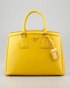 Parabole Vernice Saffiano Tote Bag, Soleil by Prada at Bergdorf Goodman. Bag Prada, Prada Handbags, Handbags Online, Handbags On Sale, Luxury Handbags, Fashion Handbags, Purses And Handbags, Fashion Bags, Leather Handbags