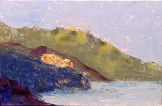 """Daily Painters Of Colorado: """"Nestled In Cinque Terre"""" by Karla Nolan, UNFRAMED miniature palette knife oil painting"""