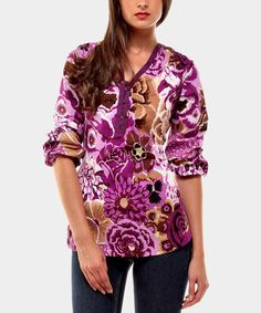 Take a look at this Purple Floral Melody Top by Almatrichi on #zulily today! $40 !!