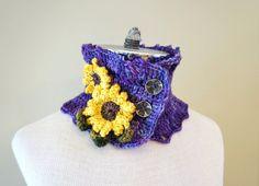 Sunflower Scarf Purple Floral scarf hand by ValerieBaberDesigns