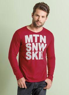 Camiseta manga longa Vermelha com Estampa Frontal