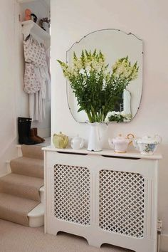 radiator shelves and mirror