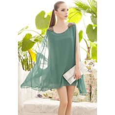 Elegant Bead Epaulet Embellished Solid Color Sleeveless Loose Fit Women's Chiffon Dress