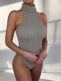 NATTEMAID knitted sweater bodysuit for women Sexy Female Casual turtleneck One piece Slim Bodycon short Jumpsuits Overalls Mode Outfits, Sexy Outfits, Fashion Outfits, Womens Fashion, Overalls Fashion, Rompers Women, Jumpsuits For Women, Turtleneck Bodysuit, Bodysuit Fashion