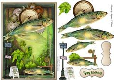Fishing Time male card on Craftsuprint designed by Sallyanne O'Connell - A… Decoupage, Paper Doll House, Money Origami, Sticky Pads, Boy Cards, Birthday Cards For Men, Card Patterns, Printable Cards, Masculine Cards