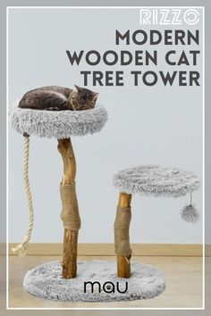 For lazy and playful cats, the Rizzo offers two cozy napping spots along with a free-floating rope, rope scratchers, and pom-pom to help them get their ya-yas out. This cat tree is purrfect for one or two cats, and looks good just about anywhere in the house. Our cat trees are made with real tree branches and are treated to last for years. For every cat tree sold, we plant a tree in return and donate 5% of proceeds to The Smush Foundation. #MauPets #cattrees #catcondos #Catfuniture Homemade Cat Beds, Cat Furniture, Furniture Ideas, Furniture Design, Small Cat Tree, Cat Apartment, Best Interactive Cat Toys, Diy Cat Bed, Cat Fountain
