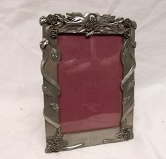 Vtg Seagull Pewter Picture Frame Dove Love Roses Wedding Signed PF 194
