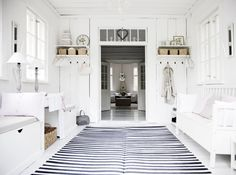 Bright and simple home with tons of white colour! Here are feng shui white colour tips:  http://fengshui.about.com/od/Feng-Shui-Color-Tips/ss/Feng-Shui-House-Decor-White-Color.htm In a country with little sunlight (Finland) very smart feng shui, love it! Black colour http://fengshui.about.com/od/fengshuiuseofcolors/qt/fengshuiblack.htm  as always, does a great job in grounding the space and, in this case, creating a nice movement, too! More tips: http://FengShui.About.com