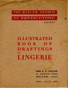 Haslam lingerie  Pattern making system from UK