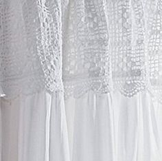 Shabby Cottage Chic Victorian Crochet Lace White Window Curtain Drapery Panel New Voile Curtains