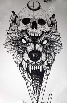 Tatoos - Tätowierungen - old school frases hombres hombres brazo ideas impresionantes japoneses pequeños tattoo Wolf Tattoo Design, Skull Tattoo Design, Tattoo Design Drawings, Tattoo Sketches, Tattoo Designs, Wolf Tattoos, Skull Tattoos, Animal Tattoos, Body Art Tattoos