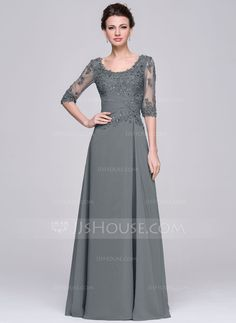 A-Line/Princess Scoop Neck Floor-Length Chiffon Mother of the Bride Dress With Ruffle Beading Appliques Lace Sequins (008058408) - JJsHouse