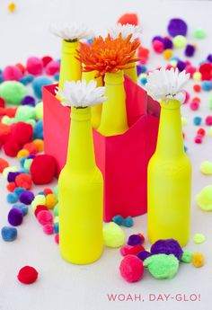 neon beer bottle vases