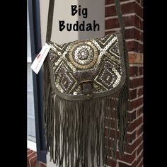 Coming soon Big Buddah handbag Sage green suede handbag with bling. 1 zipper pocket and 1 slip pocket on the inside. Snap closure. Brand new Big Buddah Bags Crossbody Bags