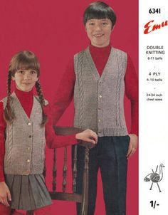 Sweater Vest Children Vintage Knitting Pattern for download -  Six Sizes to fit chest 24 - 34 inches Approx. 5 - Teen