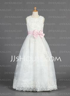 A-Line/Princess Scoop Neck Floor-Length Organza Satin Flower Girl Dresses With Embroidered Sash (010014657)