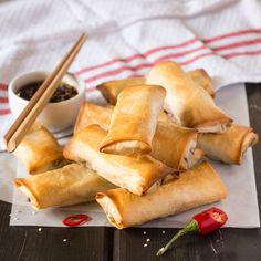These crispy golden spring rolls with a tasty dipping sauce are a breeze to make and require NO FRYING! (V)