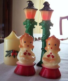 Vintage Christmas Gurley candles.