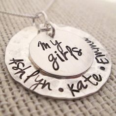Personalized Jewelry - My Girls Necklace - Mothers Necklace - hand stamped jewelry on Etsy, $50.00