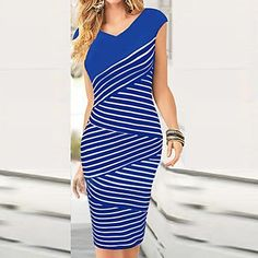 Women's Striped Blue/Black Dress , Vintage/Bodycon/Party/Sexy V Neck Short Sleeve – USD $ 12.99