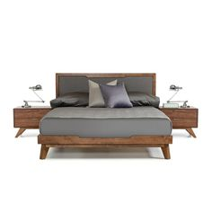 Nova Domus Soria Modern Grey & Walnut Bed - VIG Furniture Nova Domus Soria Modern Grey & Walnut Bed offers a style to beat featuring a brilliant Walnut veneer finish and a grey linen fabric headboard. Available in Queen and Eastern King s Platform Bedroom, Bed Platform, Upholstered Platform Bed, Modern Platform Bed, Camas King, 5 Piece Bedroom Set, King Size Bed Frame, King Size Beds, Modern King Bed Frame