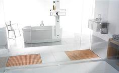 Wooden Shower Grate Drains by Aco Shower Drain, Shower Floor, Trench Drain, Shower Installation, Floor Drains, Beautiful Interiors, Interior Design Inspiration, Master Bathroom, Bath Mat