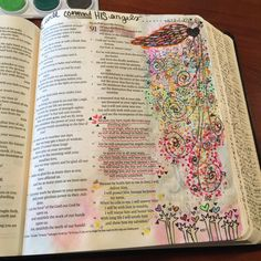 He will command His angels | apileofashes.com #illustratedfaith #journalingbible #Bible #journalingbiblecommunity