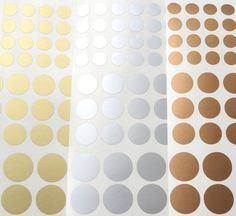 Vinyl decals, metallic gold, silver or copper polka dots. Decorate your walls, furniture and more. - I want to decorate my fridge with the silver ones.