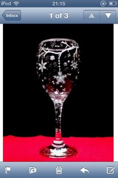 Personalised glass engraved Christmas snowflakes wine glass custom gift on Etsy, £10.00