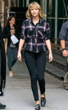 Taylor Swift from The Big Picture: Today's Hot Pics  Rad in plaid! The singer rocks a plaid button down shirt while out and about in New York City.