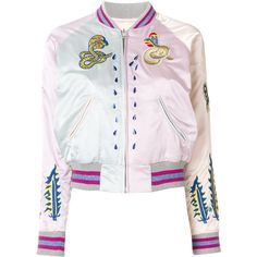 Diesel embroidered snakes bomber jacket ($332) ❤ liked on Polyvore featuring outerwear, jackets, multicolor, bomber jackets, pink bomber jacket, multi-color leather jackets, multi colored jacket and embroidery jackets