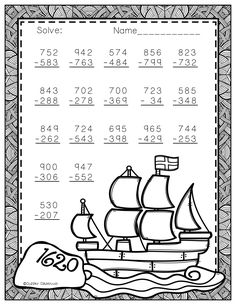 Need extra subtraction practice? These printables focus on three digit subtraction. Most problems require regrouping. No prep, just print and go. There is an answer key included. Math Stations, Math Centers, Math Resources, Math Activities, Subtraction Worksheets, Math Practices, Free Math, 3rd Grade Math, Addition And Subtraction