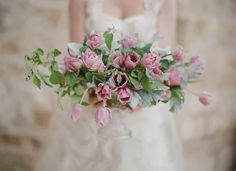 Ruffled pink tulip bridal bouquet. Elizabeth Messina Photography.