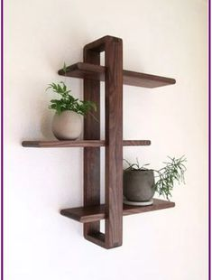 Today Pin - Daily Good Pin - Modern Wood Wall Shelf, Solid Walnut for Hanging Plants, Books, Photos. Wood Wall Shelf, Wood Shelves, Pallet Shelves, Wood Wall Decor, Palet Shelf, Living Room Wall Shelves, Floating Shelves, Hanging Shelves, Diy Wood Projects