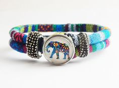 Elephant Bracelet Fabric Jewelry Elephant Snap Bracelet Ethnic Jewelry Afrocentric Cute African Bracelets by TheBlackerTheBerry