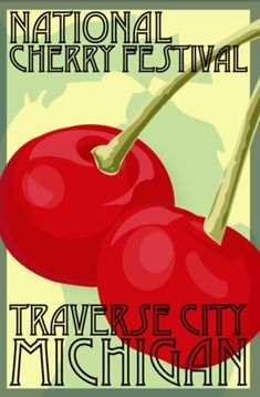 michigan travel poster | Michigan: Traverse City Cherry Festival Travel Poster