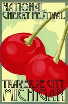 michigan travel poster   Michigan: Traverse City Cherry Festival Travel Poster